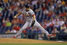 Miguel Socolovich throws a pitch in the eighth inning during a game against the Philadelphia Phillies. Cards won 12-4. 6-19-15