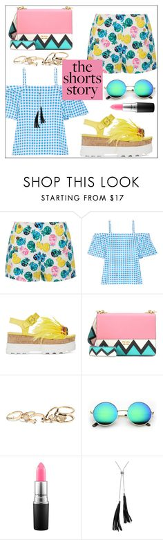 """How to Wear: Printed Shorts"" by pat912 ❤ liked on Polyvore featuring Draper James, Miu Miu, Prada, GUESS, MAC Cosmetics, White House Black Market, printedshorts and polyvoreeditorial"