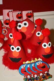 Elmo Birthday Party hats/favors for Hannah's party Birthday Party Hats, Elmo Party, Elmo Birthday, First Birthday Parties, First Birthdays, Birthday Ideas, Mickey Party, Dinosaur Party, Party Fun