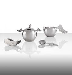 """Wings"" range by Holly Birkby for Carrol Boyes. Stainless steel. Sugar bowl, milk jug, sugar tongs and sugar ladle."