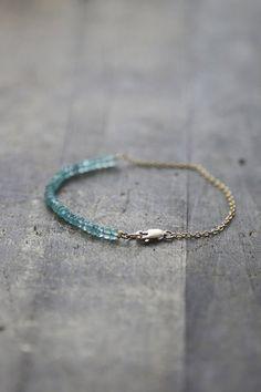 Apatite Gemstone Bracelet, Dainty Turquoise Stacking Bracelet, Delicate Apatite Rondelle Bracelet, Aqua Jewelry