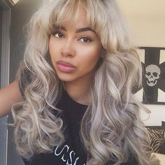 soft curl, bangs hairstyle, black women, gray hair, black girl, nude makeup, nude lipstick, cute