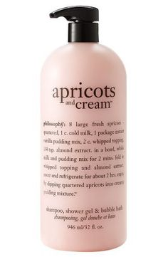 Philosophy Apricots and Cream High-foaming Shampoo, Shower Gel & Bubble Bath 32 Oz by Philosophy. $27.99. gently moisturize, condition and cleanse. Gentle enough for everyday used. 3-in-1 multitasking shower gel. Philosophy apricots and cream shampoo, shower gel & bubble bath 32 oz. Extra rich and creamy formula. treat yourself to the fresh, sweet, blissful scent of apricots and cream. this high-foaming shampoo, shower gel and bubble bath gently cleanses and conditions to...
