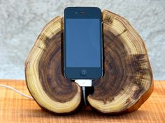 Wooden iPhone Dock Station  Naturally downed wood iPhone Stand  Wooden iPhone Charging Station on Etsy, $150.00