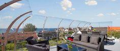 Outdoor railing in steel 316 Baltic Sea, Outdoor Furniture, Outdoor Decor, Lanterns, Building, Glass, House, Design, Home Decor