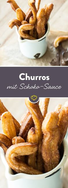 Lust auf süße Pommes? Statt Kartoffeln kommt hier Brandteig ins Öl und eine Sauce aus dunkler Schokolade macht sich gut als Dip.