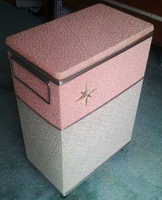 Vintage 50s Atomic Star Laundry Basket Hamper Pink White Mid Century Modern   eBay