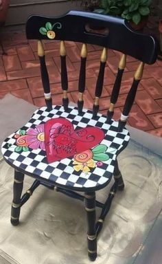 Painted chairs Painted Kids Chairs, Whimsical Painted Furniture, Painted Stools, Hand Painted Furniture, Funky Furniture, Recycled Furniture, Colorful Furniture, Paint Furniture, Furniture Projects