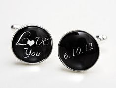 Grooms Gift:  Love You and Wedding Date  Silver Plated by MickyChaseJewelry, $40.00