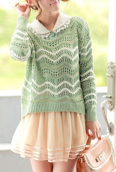 First Impressions Ripple Pattern Crochet Sweater in Pastel Green