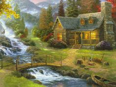 House at the creek DIY PDF Cross Stitch Pattern