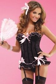 Is that a feather duster in her hand or is she just pleased to see me <3 Black Bow Mesh Bustier