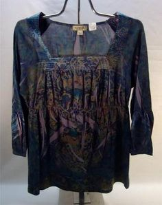 One World Womens Top Blouse Size M Empire Waist Aqua Purple Jewel Tones