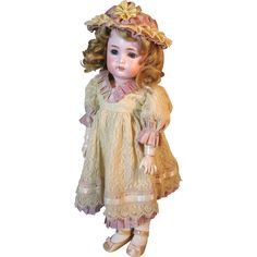 Antique Simon Halbig 1299 Mold Bisque Head German Character Doll