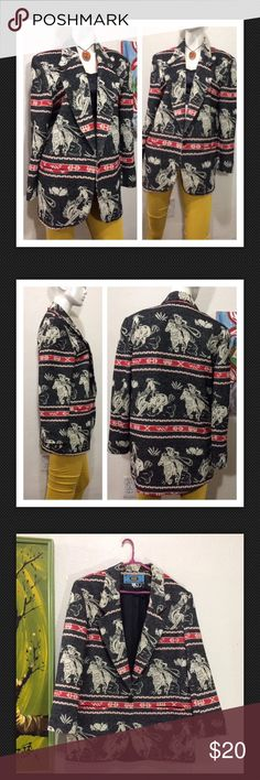 """Vintage Western Tapestry Horse Cactus Jacket Rodeo Fantastic Looking vintage jacket/blazer!  **Friendly Tip... Take a Similar item you already own (Knit Top, Blouse, Dress... Etc.) that you LOVE and fits you great...  Use the Measurements below... and Compare them to that item that Fits you so well (instead of to your body measurements). Lined: Yes  Great gently used condition! Approx measurements laid flat-(double where necessary) Shoulder to shoulder: 18.5"""" Underarm to underarm: 23"""" Waist…"""