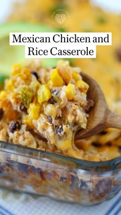 Rotisserie Chicken Casserole Recipe, Cheesy Chicken Casserole, Chicken Recipes, Rice Recipes For Dinner, Mexican Food Recipes, Mexican Meals, Mexican Chicken And Rice, Orange Chicken, Chicken Rice