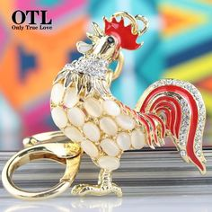 Opals Cock Rooster  Lovely Crystal   Rhinestone  Pendant Keyring  Friendly Gift #OTL