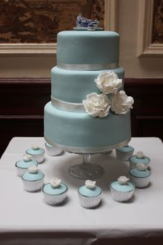 Megan: Pale Blue Wedding Cake with Handmade White Sugar Roses and Matching Cupcakes
