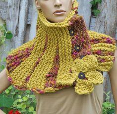Knitt Scarf Capelet Woman winter fashion l Cape Mustard by Degra2