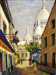 """Diego Voci™ Street to Montmatre, Paris with """"Sacre Coeur"""". Helga Voci shares, """"In Paris we stayed until Oct 1960. We had a wonderful time, I became acquainted with another part of Paris, we went to fantastic Restaurants, we met many artists in - La Coupole-a famous place, http://www.lacoupole-paris.com/en/the-legend-of-la-coupole.html, frequented by such, #YvesKlein, Jean Paul #Sartre & Simone de Beauvoir & others."""" (17"""" x 13"""" oil on canvas, Acquire: diegovociproject.com )"""