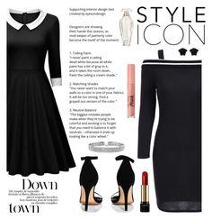 """Black"" by elmaimsirovic ❤ liked on Polyvore featuring Boohoo, Bling Jewelry, Versace, Lancôme, Victoria's Secret, Too Faced Cosmetics, vintage, black and dresstoimpress"