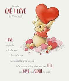 Disney Winnie the Pooh Valentine's Day Large Greeting Car. Winnie The Pooh Drawing, Cute Winnie The Pooh, Winnie The Pooh Quotes, Piglet Quotes, Pooh Bear, Disney Quotes, Disney Wallpaper, Disney Drawings, Cute Quotes