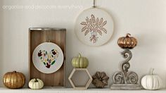 DIY Thanksgiving, Fall, Autumn Harvest Decorations - Stencils for Home Decor & Crafts by Royal Design Studio - Stenciled Hoop Art - styled by Organize and Decorate Everything
