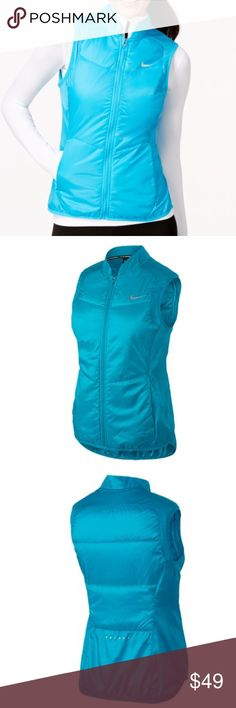 NIKE DRI-FIT POLYFILL VEST - WOMEN'S size Small. New without tags.                                     Designed to protect your from whatever mother nature throws at you during your run.  Durable ripstop fabric for wind and water resistance. Strategically placed insulation for warmth and mobility. Packable design features a hand strap for easy carrying. Side zippered pockets for secure storage. Elastic binding on the arm holes and hem for a comfortable fit. Dri-FIT® 100% polyester. Imported…