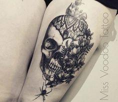 Flowers Skull tattoo by Miss Voodoo Tattoo