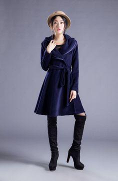 Cashmere Hooded Coat Wool Jacket Double Lotus Leaf Collar Hoodie Long Jacket