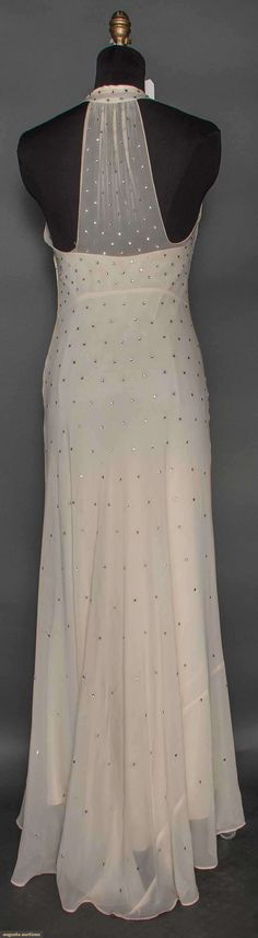 SILK & RHINESTONE EVENING GOWN, 1930s (back view) White bias-cut georgette, scattered all over w/ rhinestones, V neck