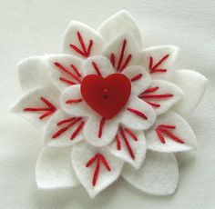 White Felt Flower Pin with Vintage Red Heart Button and Embroidery by Dorothy Designs