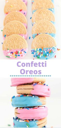 Confetti Oreos are made with Golden Oreos (or regular Oreos) and they're super easy! They do not require any kind of skill (or oven). Basically, they are the perfect accent to any party because you can customize your colors any way you want - and they are adorable! Homemade Desserts, Easy Desserts, Oreo Desserts, Baking Recipes, Cake Recipes, Dessert Recipes, Cookie Decorating Icing, Dulce Candy, Oreo Cake