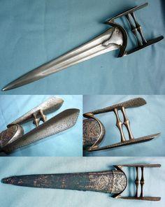 Antique 18th century Indian katar push dagger, 16in length.