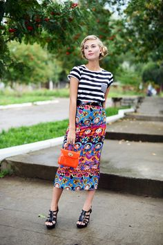 striped top with printed skirt