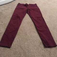 Abercrombie and Finch maroon jeans Maroon jeans. Like new Abercrombie & Fitch Jeans Skinny Maroon Jeans, Abercrombie And Fitch Jeans, Parachute Pants, Skinny Jeans, Fashion, Moda, Fashion Styles, Fashion Illustrations
