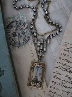Speaking French vintage assemblage necklace by OhMyGypsySoul,
