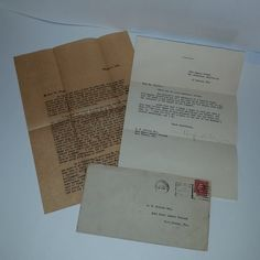 Antique letter 1923 correspondence with envelope from writer HUGH WILEY to fan about Wildcat series Vintage paper supplies ephemera