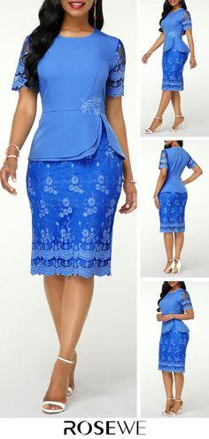 Short Sleeve Round Neck Back Slit Lace Dress - Women's fashion 2020 Latest African Fashion Dresses, Women's Fashion Dresses, Vestidos Chiffon, Frack, Classy Dress, African Dress, Fashion 2020, Types Of Fashion Styles, Curvy Fashion