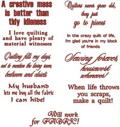 Advanced Embroidery Designs - Quilting Sayings Set