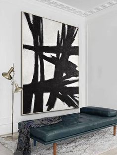 Reaching Out Large Black And White Painting Minimalist - Painting Black And White Artwork, Black And White Wall Art, Black And White Abstract, Large Black, Black White, White Canvas Art, Diy Canvas Art, Black Canvas, Minimalist Painting