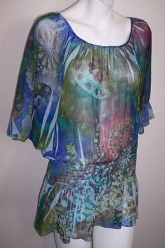 Unity Top L Boho Hippie Silky Sheer Sublimation Tunic Shirt Blouse Women's Large #Unity #Tunic #Casual