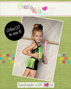 This fun dancewear set is perfect for dance and gymnastics practice, or even your next competition! Featuring sassy, yet simple, fringe embellishment on the top and bottoms; you'll be whipping a ton of these for your little dancers and gymnasts! Also cute as swimwear! This pattern must be made using a spandex or lycra fabric only for the perfect fit and stretch.