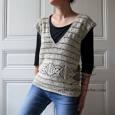 IMG_1751   -   Beige crocheted deep V-neck top w/ granny square details