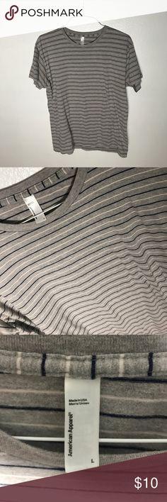 Gray striped shirt Favorite shirt fits long! Very comfy (men's) American Apparel Tops Tees - Short Sleeve
