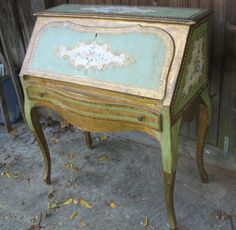 Vintage Florentine Drop Front Desk........Italian Gilt...   Shabby Chic. $425.00, via Etsy.