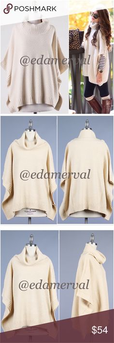 LISTING! NWT Beige Cowl Neck Poncho Sweater NWT Beige Cowl Neck Poncho Sweater. The perfect poncho for fall, winter, and the upcoming holidays! A beautiful neutral beige knit, featuring a cowl neck style. Oversized in design, such a cozy piece! Pair with jeans/leggings and boots/booties -- so versatile! Sides are sewn together for coverage (not open), with loose arm holes. Material is 100% Acrylic, loose fitting. Available in Small (0-4), Medium (6-8), Large (10-12). No Trades and No…