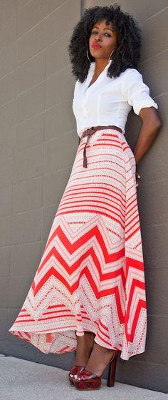 Printed Tea Length Skirt by Style Pantry