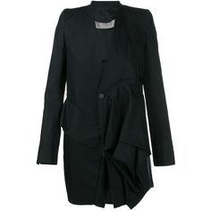Rick Owens Candy Cotton Peacoat (1'765 CHF) ❤ liked on Polyvore featuring outerwear, coats, black, cotton peacoat, pea jacket, rick owens coat, cotton coat and ruffle coat