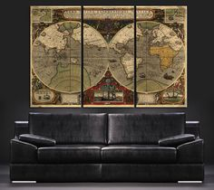 Large Wall Art Canvas Print Ancient World Map - Vintage World Map Art Canvas - Canvas Art Print - Large Size World Map Large Wall Prints, Large Canvas Wall Art, Extra Large Wall Art, Canvas Art Prints, Canvas Canvas, World Map Art, Vintage World Maps, Stretcher Bars, Canvases